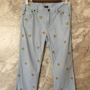 J. CREW 6 Blue Corduroy Embroidered Dogs Pants